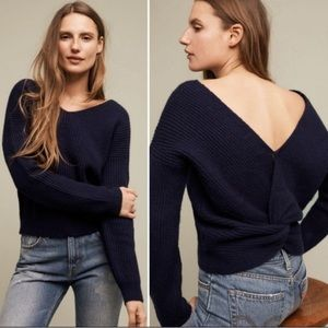 Angel of the North knot back navy sweater